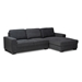 Baxton Studio Nevin Modern and Contemporary Dark Grey Fabric Upholstered Sectional Sofa with Right Facing Chaise - J099S-Dark Grey-RFC
