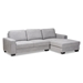 Baxton Studio Nevin Modern and Contemporary Light Grey Fabric Upholstered Sectional Sofa with Right Facing Chaise - J099S-Light Grey-RFC