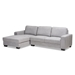 Baxton Studio Nevin Modern and Contemporary Light Grey Fabric Upholstered Sectional Sofa with Left Facing Chaise - J099S-Light Grey-LFC