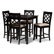 Baxton Studio Alora Modern and Contemporary Sand Fabric Upholstered Espresso Brown Finished 5-Piece Wood Pub Set Baxton Studio restaurant furniture, hotel furniture, commercial furniture, wholesale bar furniture, wholesale counter pub sets, classic pub sets