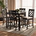 Baxton Studio Alora Modern and Contemporary Sand Fabric Upholstered Espresso Brown Finished 5-Piece Wood Pub Set - RH320P-Sand/Dark Brown-5PC Pub Set