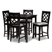 Baxton Studio Alora Modern and Contemporary Grey Fabric Upholstered Espresso Brown Finished 5-Piece Wood Pub Set Baxton Studio restaurant furniture, hotel furniture, commercial furniture, wholesale bar furniture, wholesale counter pub sets, classic pub sets