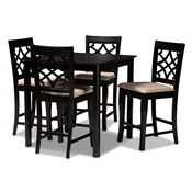 Baxton Studio Nisa Modern and Contemporary Sand Fabric Upholstered Espresso Brown Finished 5-Piece Wood Pub Set Baxton Studio restaurant furniture, hotel furniture, commercial furniture, wholesale bar furniture, wholesale counter pub sets, classic pub sets