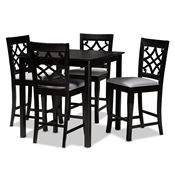 Baxton Studio Nisa Modern and Contemporary Grey Fabric Upholstered Espresso Brown Finished 5-Piece Wood Pub Set Baxton Studio restaurant furniture, hotel furniture, commercial furniture, wholesale bar furniture, wholesale counter pub sets, classic pub sets