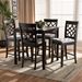 Baxton Studio Nisa Modern and Contemporary Grey Fabric Upholstered Espresso Brown Finished 5-Piece Wood Pub Set - RH321P-Grey/Dark Brown-5PC Pub Set