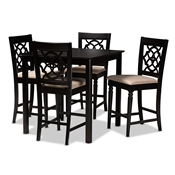 Baxton Studio Arden Modern and Contemporary Sand Fabric Upholstered Espresso Brown Finished 5-Piece Wood Pub Set Baxton Studio restaurant furniture, hotel furniture, commercial furniture, wholesale bar furniture, wholesale counter pub sets, classic pub sets