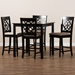 Baxton Studio Arden Modern and Contemporary Sand Fabric Upholstered Espresso Brown Finished 5-Piece Wood Pub Set - RH322P-Sand/Dark Brown-5PC Pub Set