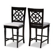 Baxton Studio Arden Modern and Contemporary Grey Fabric Upholstered Espresso Brown Finished Wood Counter Stool (Set of 2) Baxton Studio restaurant furniture, hotel furniture, commercial furniture, wholesale bar furniture, wholesale counter stools, classic counter stools