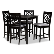Baxton Studio Arden Modern and Contemporary Grey Fabric Upholstered Espresso Brown Finished 5-Piece Wood Pub Set Baxton Studio restaurant furniture, hotel furniture, commercial furniture, wholesale bar furniture, wholesale counter pub sets, classic pub sets