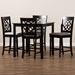 Baxton Studio Arden Modern and Contemporary Grey Fabric Upholstered Espresso Brown Finished 5-Piece Wood Pub Set - RH322P-Grey/Dark Brown-5PC Pub Set