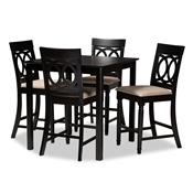 Baxton Studio Verina Modern and Contemporary Sand Fabric Upholstered Espresso Brown Finished 5-Piece Wood Pub Set Baxton Studio restaurant furniture, hotel furniture, commercial furniture, wholesale bar furniture, wholesale counter pub sets, classic pub sets