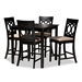 Baxton Studio Verina Modern and Contemporary Sand Fabric Upholstered Espresso Brown Finished 5-Piece Wood Pub Set - RH323P-Sand/Dark Brown-5PC Pub Set