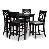 Baxton Studio Verina Modern and Contemporary Grey Fabric Upholstered Espresso Brown Finished 5-Piece Wood Pub Set Baxton Studio restaurant furniture, hotel furniture, commercial furniture, wholesale bar furniture, wholesale counter pub sets, classic pub sets