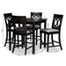 Baxton Studio Verina Modern and Contemporary Grey Fabric Upholstered Espresso Brown Finished 5-Piece Wood Pub Set - RH323P-Grey/Dark Brown-5PC Pub Set