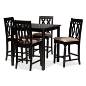 Baxton Studio Darcie Modern and Contemporary Sand Fabric Upholstered Espresso Brown Finished 5-Piece Wood Pub Set Baxton Studio restaurant furniture, hotel furniture, commercial furniture, wholesale bar furniture, wholesale counter pub sets, classic pub sets
