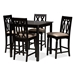 Baxton Studio Darcie Modern and Contemporary Sand Fabric Upholstered Espresso Brown Finished 5-Piece Wood Pub Set - RH324P-Sand/Dark Brown-5PC Pub Set