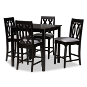 Baxton Studio Darcie Modern and Contemporary Grey Fabric Upholstered Espresso Brown Finished 5-Piece Wood Pub Set Baxton Studio restaurant furniture, hotel furniture, commercial furniture, wholesale bar furniture, wholesale counter pub sets, classic pub sets