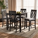 Baxton Studio Darcie Modern and Contemporary Grey Fabric Upholstered Espresso Brown Finished 5-Piece Wood Pub Set - RH324P-Grey/Dark Brown-5PC Pub Set