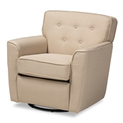 Baxton Studio Canberra Modern and Contemporary Beige Fabric Upholstered Button-tufted Swivel Armchair Baxton Studio restaurant furniture, hotel furniture, commercial furniture, wholesale living room furniture, wholesale chairs, classic chairs