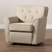 Baxton Studio Canberra Modern and Contemporary Beige Fabric Upholstered Button-tufted Swivel Armchair - DB-186-Beige/Dual-Tone-CC