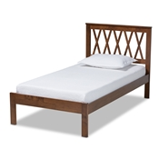 Baxton Studio Malene Mid-Century Modern Walnut Finished Wood Twin Size Platform Bed Baxton Studio restaurant furniture, hotel furniture, commercial furniture, wholesale bedroom furniture, wholesale twin, classic twin