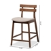 Baxton Studio Larine Modern and Contemporary Light Grey Fabric Upholstered Walnut Finished 2-Piece Wood Counter Stool Set - Boba-Light Grey/Walnut-Counter Stool