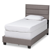 Baxton Studio Ansa Modern and Contemporary Grey Fabric Upholstered Twin Size Bed Baxton Studio restaurant furniture, hotel furniture, commercial furniture, wholesale bedroom furniture, wholesale twin, classic twin