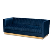 Baxton Studio Aveline Glam and Luxe Navy Blue Velvet Fabric Upholstered Brushed Gold Finished Sofa Baxton Studio restaurant furniture, hotel furniture, commercial furniture, wholesale living room furniture, wholesale sofa, classic sofa
