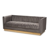 Baxton Studio Aveline Glam and Luxe Grey Velvet Fabric Upholstered Brushed Gold Finished Sofa Baxton Studio restaurant furniture, hotel furniture, commercial furniture, wholesale living room furniture, wholesale sofa, classic sofa
