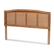 Baxton Studio Marieke Mid-Century Modern Ash Wanut Finished Wood and Synthetic Rattan King Size Headboard Baxton Studio restaurant furniture, hotel furniture, commercial furniture, wholesale bedroom furniture, wholesale king, classic king