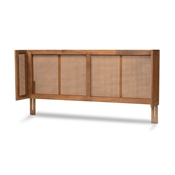 Baxton Studio Rina Mid-Century Modern Ash Wanut Finished Wood and Synthetic Rattan King Size Wrap-Around Headboard Baxton Studio restaurant furniture, hotel furniture, commercial furniture, wholesale bedroom furniture, wholesale king, classic king