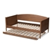 Baxton Studio Veles Mid-Century Modern Ash Wanut Finished Wood Daybed with Trundle - MG0016-Ash Walnut-Daybed with Trundle