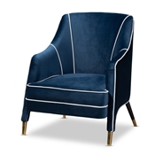 Baxton Studio Ainslie Glam and Luxe Navy Blue Velvet Fabric Upholstered Gold Finished Armchair Baxton Studio restaurant furniture, hotel furniture, commercial furniture, wholesale living room furniture, wholesale chair, classic chair