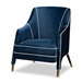 Baxton Studio Ainslie Glam and Luxe Navy Blue Velvet Fabric Upholstered Gold Finished Armchair - TSF-6634-Navy/Gold-CC