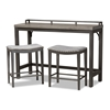 Baxton Studio Noll Modern and Contemporary Grey Fabric Upholstered 3-Piece Multipurpose Metal Counter Table Set Baxton Studio restaurant furniture, hotel furniture, commercial furniture, wholesale bar furniture, wholesale pub sets, classic pub sets
