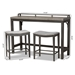 Baxton Studio Noll Modern and Contemporary Grey Fabric Upholstered 3-Piece Multipurpose Metal Counter Table Set - 8718P-Grey/Black-3PC Pub Set