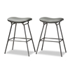 Baxton Studio Jette Modern and Contemporary Grey Fabric Upholstered Dark Grey Metal 2-Piece Bar Stool Set Baxton Studio restaurant furniture, hotel furniture, commercial furniture, wholesale bar furniture, wholesale bar stools, classic bar stools