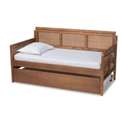 Baxton Studio Toveli Vintage French Inspired Ash Wanut Finished Wood and Synthetic Rattan Daybed with Trundle Baxton Studio restaurant furniture, hotel furniture, commercial furniture, wholesale bedroom furniture, wholesale full, classic full