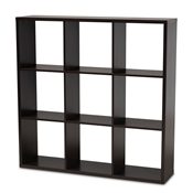 Baxton Studio Janne Modern and Contemporary Dark Brown Finished 9-Cube Multipurpose Storage Shelf Baxton Studio restaurant furniture, hotel furniture, commercial furniture, wholesale living room furniture, wholesale shelve, classic shelve