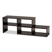 Baxton Studio Andor Modern and Contemporary Dark Brown Finished Adjustable 2-Piece Wood TV Stand Baxton Studio restaurant furniture, hotel furniture, commercial furniture, wholesale living room furniture, wholesale tv stand, classic tv stand