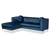 Baxton Studio Giselle Glam and Luxe Navy Blue Velvet Fabric Upholstered Mirrored Gold Finished Left Facing Sectional Sofa with Chaise Baxton Studio restaurant furniture, hotel furniture, commercial furniture, wholesale living room furniture, wholesale sectional sofa, classic sectional sofa