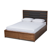 Baxton Studio Elin Modern and Contemporary Dark Grey Fabric Upholstered Walnut Finished Wood King Size Platform Storage Bed with Six Drawers Baxton Studio restaurant furniture, hotel furniture, commercial furniture, wholesale bedroom furniture, wholesale king, classic king