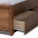 Baxton Studio Elin Modern and Contemporary Dark Grey Fabric Upholstered Walnut Finished Wood King Size Platform Storage Bed with Six Drawers - MG4710-Dark Grey/Ash Walnut-King