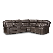 Baxton Studio Vesa Modern and Contemporary Grey Leather-Like Fabric Upholstered 6-Piece Sectional Recliner Sofa with 2 Reclining Seats Baxton Studio restaurant furniture, hotel furniture, commercial furniture, wholesale living room furniture, wholesale sectional sofa, classic sectional sofa