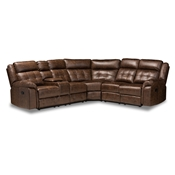 Baxton Studio Vesa Modern and Contemporary Brown Leather-Like Fabric Upholstered 6-Piece Sectional Recliner Sofa with 2 Reclining Seats Baxton Studio restaurant furniture, hotel furniture, commercial furniture, wholesale living room furniture, wholesale sectional sofa, classic sectional sofa