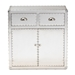 Baxton Studio Serge French Industrial Silver Metal 2-Door Accent Storage Cabinet - JY17B162-Silver-Cabinet
