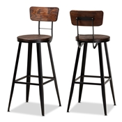 Baxton Studio Kenna Vintage Rustic Industrial Wood and Black Metal Finished 2-Piece Metal Bar Stool Set Baxton Studio restaurant furniture, hotel furniture, commercial furniture, wholesale bar furniture, wholesale barstools, classic barstools