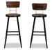 Baxton Studio Kenna Vintage Rustic Industrial Wood and Black Metal Finished 2-Piece Metal Bar Stool Set - T-4625-Natural/Black-BS