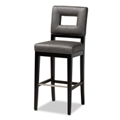 Baxton Studio Faustino Modern and Contemporary Grey Faux Leather Upholstered Black Finished Wood Bar Stool Baxton Studio restaurant furniture, hotel furniture, commercial furniture, wholesale bar furniture, wholesale barstools, classic barstools