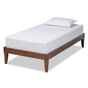 Baxton Studio Lucina Mid-Century Modern Walnut Brown Finished Twin Size Platform Bed Frame Baxton Studio restaurant furniture, hotel furniture, commercial furniture, wholesale bedroom furniture, wholesale twin, classic twin